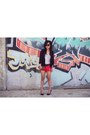Black-chiffon-urban-outfitters-blazer-black-zara-bag-red-studded-zara-shorts