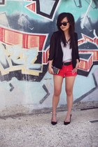 black chiffon Urban Outfitters blazer - black Zara bag - red studded Zara shorts