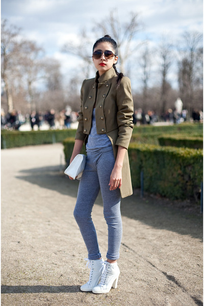 white unknown boots - olive green unknown jacket