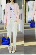 suede bag - chain bag - blazer - Alexander Wang heels