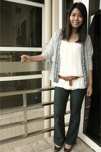 JCrew shoes - black Frankie B jeans - beige thrifted top - brown F&H belt
