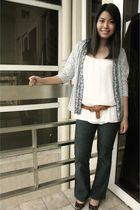 JCrew shoes - black Frankie B jeans - beige thrifted top - brown F&H belt