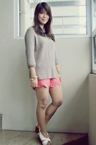 tan thrifted sweater - white St Francis shoes - salmon Pill clothing shorts
