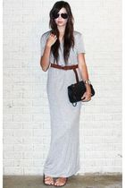 gray asos dress - black Forever 21 sunglasses - black New York & Company purse -