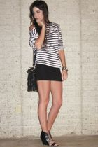 black Aldo shoes - black H&M dress - black Forever 21 purse - white H&M t-shirt