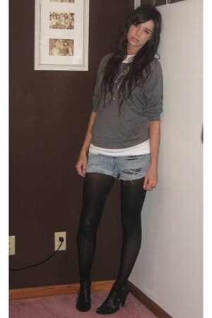 forever 21 top - Hanes t-shirt - DIY cutoffs shorts - Target tights - Nine West 