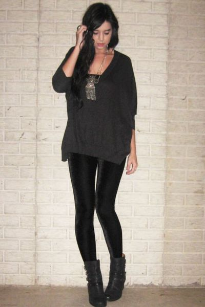 gray Forever 21 sweater - black Nine West boots - black Ebay leggings