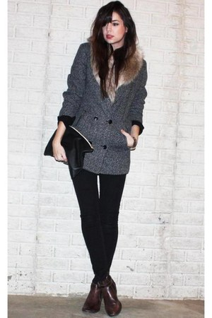 faux fur H&amp;M scarf - ankle asos boots - Cheap Monday coat - H&amp;M jeans