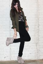 green H&M jacket - black Forever 21 top - black H&M divided black pants - beige
