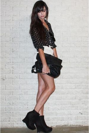 black polka dot Secondhand blouse - black wedge ankle Forever 21 boots