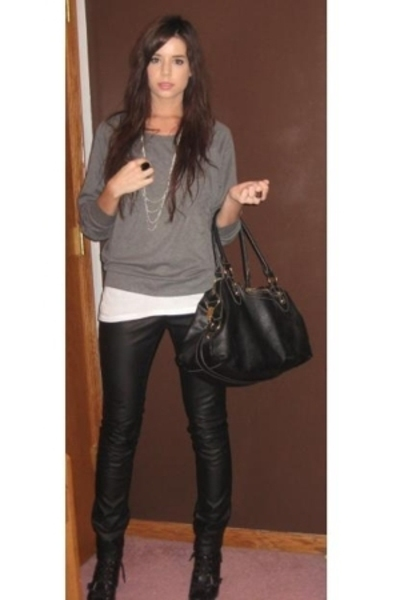 forever 21 top - forever 21 necklace - Hanes t-shirt - H&M pants - Target purse