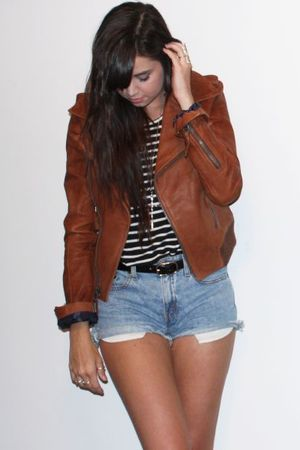brown leather American Eagle jacket - blue vintage levis shorts - black H&M belt