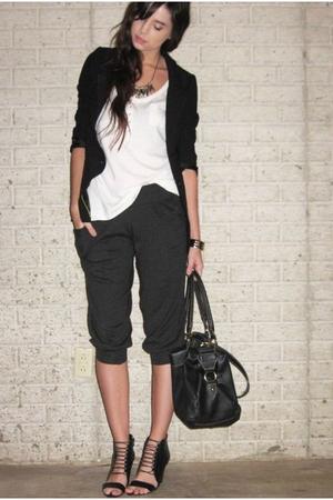 silver Forever 21 necklace - black Aldo shoes - black H&M divided black blazer