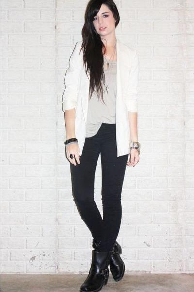 black 8r harness Frye boots - black denim H&M leggings