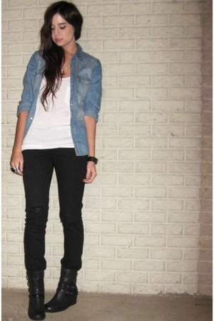 H&M LOGG shirt - forever 21 top - forever 21 jeans - forever 21 boots - forever