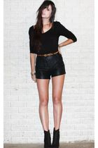 black Forever 21 boots - black faux leather Forever 21 shorts