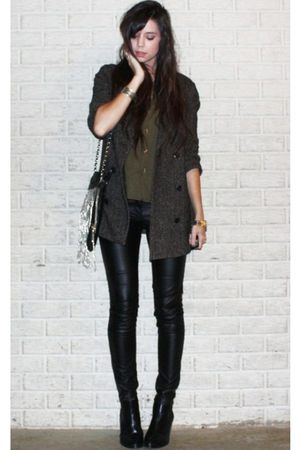 brown BB Dakota blazer - green Secondhand blouse - black H&M pants - black H&M b