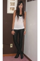forever 21 top - Charlotte Russe bra - H&M pants - Nine West boots - forever 21