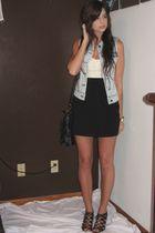 forever 21 vest - forever 21 top - forever 21 skirt - forever 21 purse - Aldo sh