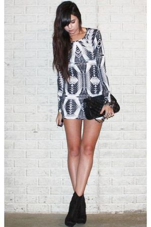 blue denim Forever 21 jacket - black Forever 21 boots - white printed H&M dress
