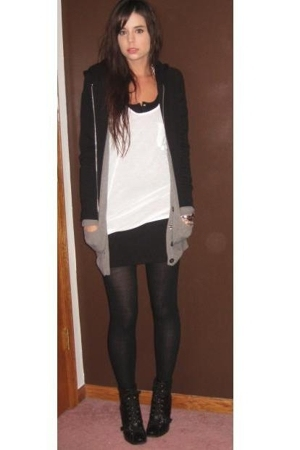 H&M sweater - forever 21 sweater - forever 21 top - Target tights - H&M dress -
