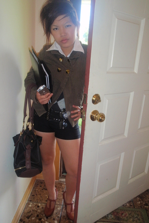 forever 21 blazer - Wet Seal shorts - Charlotte Russe shoes - forever 21 purse -