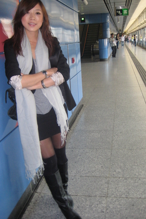 Mimco scarf - H&M blazer - American Apparel top - supre skirt - boots