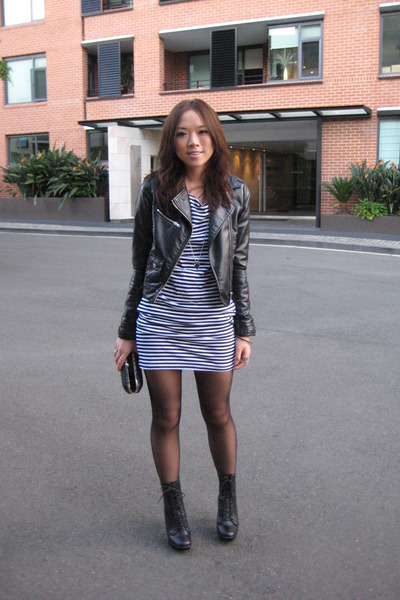 H&M jacket - American Apparel dress - Topshop boots - bardot wallet