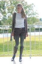 brown Thrifted Banana Republic boots - gray Express tights - white shade t-shirt