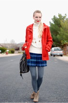 tan boots - red coat - ivory sweater - blue skirt - heather gray stockings