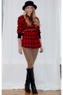Black-boots-black-hat-black-sweater-tan-leggings-ruby-red-shirt-tawny-