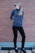 black Forever 21 pants - black Target boots - gray Forever 21 sweater