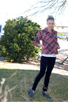 red Walmart brand jacket - white Target t-shirt - black Forever 21 jeans - gray