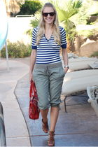 red Knock Off purse - green  pants - brown Michael Kors shoes - blue Forever 21