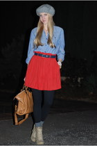 red skirt - tan boots - heather gray hat - blue shirt - black tights - tawny bag