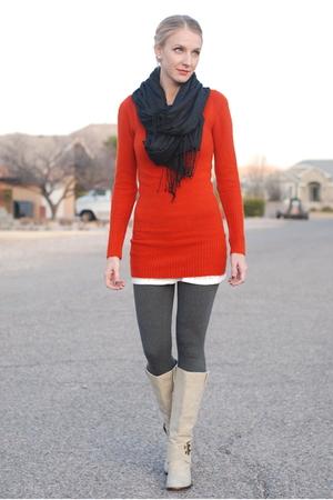 orange Forever 21 t-shirt - gray Forever 21 leggings - beige payless boots - whi