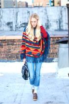 brick red sweater - carrot orange coat - blue jeans - brown shoes - black bag