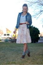gray OP t-shirt - blue Gap jacket - brown Thrifted Nordstrom belt - pink Charlot