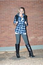 black Kors by Michael Kors boots - gray Forever 21 leggings - blue OP shirt - bl