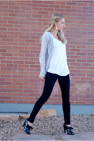 white OP shirt - black Forever 21 jeans - gray Express cardigan - black Target s