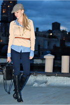 blue pants - black bag - black shoes - light blue shirt - camel cardigan - brown