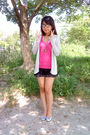 Beige-mango-cardigan-silver-so-fab-shoes-black-roxy-skirt-pink-bench-top-