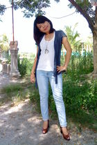 blue Mango blazer - white bench top - blue Forever 21 jeans - brown Nine West