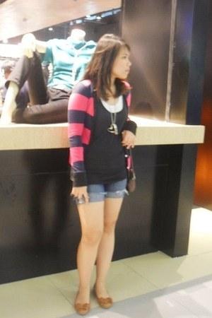 Forever21 shorts - Mango blouse - bench blouse - cardigan - accessories - Esprit
