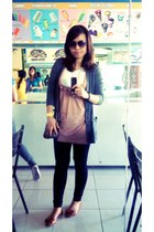 gray Forever 21 cardigan - white Mango blouse - camel solo jumper - brown sm dep