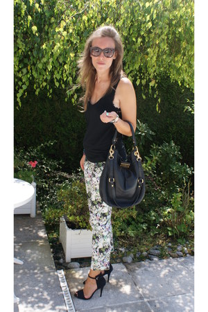 flowers Zara pants - leather Marc by Marc Jacobs bag - Zara sunglasses