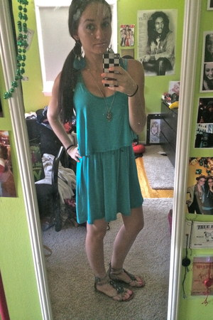 owl Forever 21 necklace - teal Marshalls dress - DSW sandals