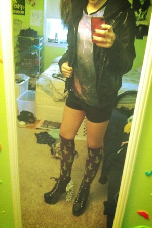 galaxy TJ Maxx shirt - litas Jeffrey Campbell shoes - faux leather obey jacket