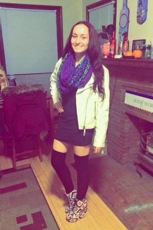 black Marshalls dress - white Forever 21 jacket - purple Wal Mart scarf