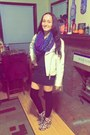 Black-marshalls-dress-white-forever-21-jacket-purple-wal-mart-scarf